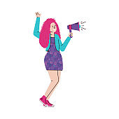 Megaphone announcement, young female cartoon character holding bullhorn