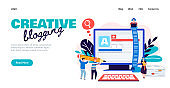 Creative blogging banner - marketing blog or text copywriting service