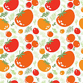 Red juicy tomatoes hand drawn seamless pattern. Background useful natural vegetables for a healthy diet. Vegetarian food vector texture. Vegan, farm, organic, detox, crop. Vector flat illustration