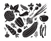 Set with hand drawn черно белыми doodle vegetables in trendy organic style. Монохромные flat icons: cucumber, carrot, onion, tomato, beetroot, broccoli, pepper. Vegetarian healthy food. Farm products