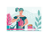 Woman creating video tutorial on top care of plants, flat vector illustration.