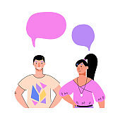 Cartoon couple speaking - people with blank speech bubble templates