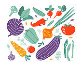 Set with hand drawn colorful doodle vegetables in trendy organic style. Vegetables flat icons: cucumber, carrot, onion, tomato, beetroot, broccoli, pepper. Vegetarian healthy food. Farm products