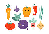 Cute colored cartoon vegetable characters. Funny kawaii food characters. Flat icons: pepper, carrot, tomato, onion, beetroot, radish, garlic. Healthy foods concept illustration vector for children