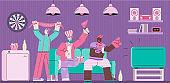 Sport fans watching TV on sofa - friend group of cartoon man in fan gear