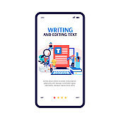 Mobile app interface on phone screen for copywriter or blogger a vector illustration