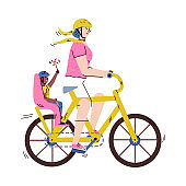 Cartoon woman riding adult bicycle with child in baby passenger seat