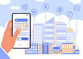 Human hand holding smartphone at cityscape backdrop, flat vector illustration.