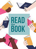 Read book topic banner for book stores and fairs, cartoon vector illustration.