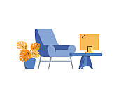 Workplace with chair and laptop on table cartoon vector illustration isolated.