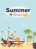 Summer beach vacation banner template with cartoon characters vector illustration.