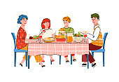Happy family with children eating at big table, cartoon vector illustration.