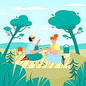 Romantic summer picnic of loving couple, cartoon flat vector illustration.
