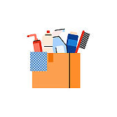 Cardboard box full cleaning and hygiene products for charity and donation.