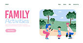 Happy family training together in the park a vector design for website