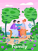 Summer banner with family on bench in city park. cartoon vector illustration.