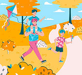 Vector flat cartoon illustration of dad and sons walking together in the park