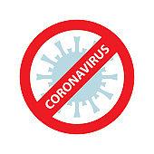 Coronavirus in China. Novel coronavirus 2019-nCoV. Virus quarantine. MERS-Cov middle East respiratory syndrome. Virus Pandemic Protection Concept. Crossed out red stop sign. Stop coronavirus
