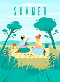 Summer banner or poster with beachside picnic flat cartoon vector illustration.