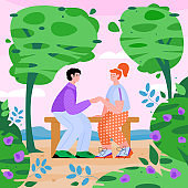 Couple sitting on a bench in spring park, flat cartoon vector illustration