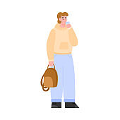 Man in casual wear drinking water from glass flat vector illustration isolated.