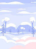 Winter landscape card or banner with snowy trees flat vector illustration.