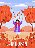 Happy woman in autumn nature with falling leaves - fall season poster