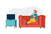 Woman watches TV and eats popcorn at home, cartoon vector illustration isolated.