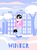 Winter poster with cartoon girl walking with takeaway coffee on snow.