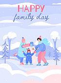 Family building snowman in winter park poster, flat cartoon vector illustration
