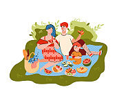 Cartoon family on summer picnic - happy parents and child eating