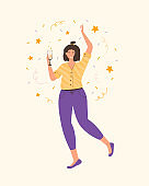 Carefree woman dancing and drinking wine. Relaxed young lady having fun at indoor party. Party, drinks, holidays and celebration concept. Spend time at home in quarantine. Vector flat illustration