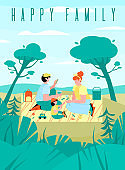 Banner or poster with a happy family on a picnic a vector illustration