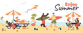 Summer beach banner with people on sea shore flat vector illustration isolated.
