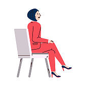 Woman cartoon character listening to presentation, vector illustration isolated.