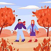 Couple holding hands walking in autumn park, flat cartoon vector illustration