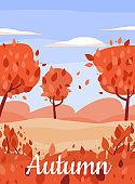 Autumn forest park full of red leaves banner, flat cartoon vector illustration