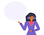 Customer service representative with headphones and microphone answers. Online virtual assistant services concept. Online technical support. Empty speech bubble for the text. Vector flat illustration