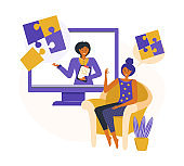 Online psychological consultation. Woman receives psychological help via the Internet while staying at home. Сoncept online app for specialist consultations. Mental illness and life problems.