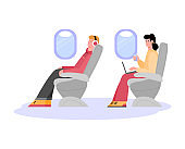 People are sitting in passenger seats in the plane a isolated vector illustration