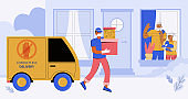 Contactless Express delivery of orders to the door of a house or apartment. A courier in a medical mask and gloves delivers the order. Elderly people sit at home in quarantine and look out the window