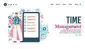 Time management website banner with man using business to do list app