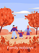 Family holidays autumn card - landscape with people cartoon vector illustration.