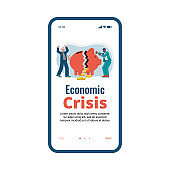 Onboarding screen page design of economic crisis vector illustration isolated.