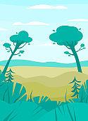Vector colorful flat illustration of a summer or spring landscape.