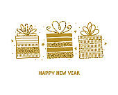 Happy new year horizontal card or banner with a greeting text. Gold gift boxes with glitter on white background. Vector illustration of Doodle elements. Luxury presents. Shiny holiday gold icons