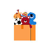 Cardboard box with children toys cartoon vector illustration isolated on white.