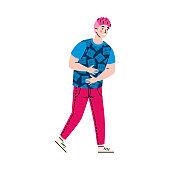 Man feeling n attack of abdominal pain, cartoon vector illustration isolated.