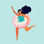 Happy woman in a swimsuit runs with sweet donut inflatable swimming pool float. Summer beach party. Female character is resting by the sea. Pin up girl. Summertime. Hand drawn flat vector illustration