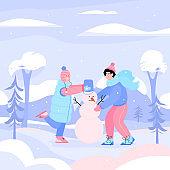Flat vector cartoon illustration of a boy and a girl making a snowman.
